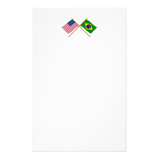 US and Brazil Crossed Flags Stationery