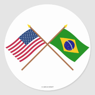 US and Brazil Crossed Flags Round Sticker