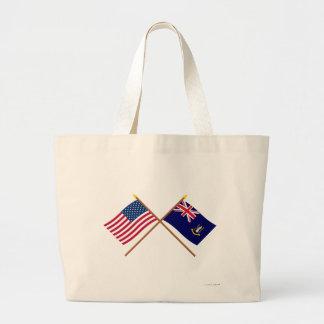 US and British Virgin Islands Crossed Flags Bags