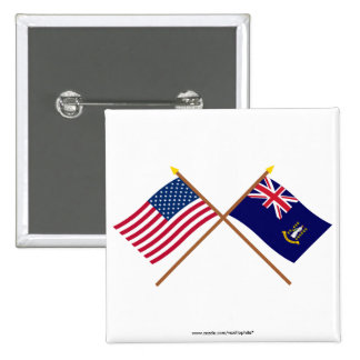 US and British Virgin Islands Crossed Flags Pinback Button