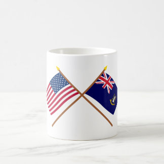 US and British Virgin Islands Crossed Flags Coffee Mug