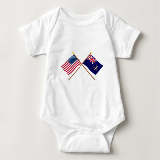 US and British Virgin Islands Crossed Flags Infant Creeper