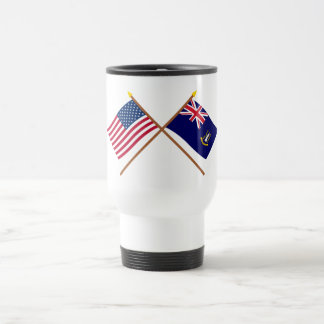 US and British Virgin Islands Crossed Flags 15 Oz Stainless Steel Travel Mug