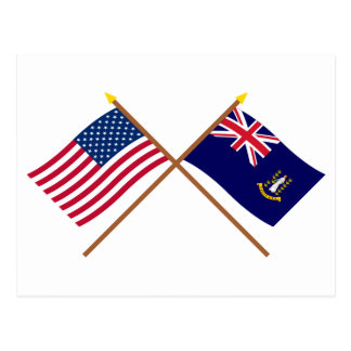 US and British Virgin Islands Crossed Flags Postcard