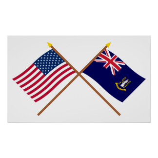 US and British Virgin Islands Crossed Flags Poster