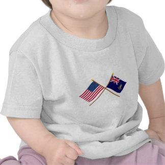 US and British Virgin Islands Crossed Flags Tshirts