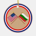 US and Bulgaria Crossed Flags Christmas Ornaments