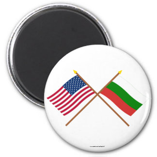 US and Bulgaria Crossed Flags Magnet