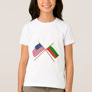 US and Bulgaria Crossed Flags T-Shirt