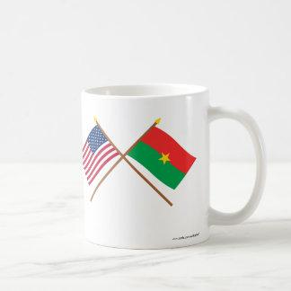 US and Burkina Faso Crossed Flags Coffee Mug