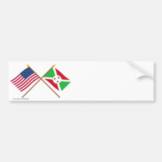 US and Burundi Crossed Flags Bumper Sticker