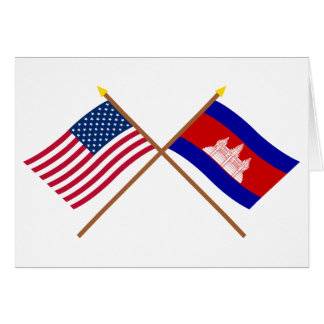 US and Cambodia Crossed Flags Card