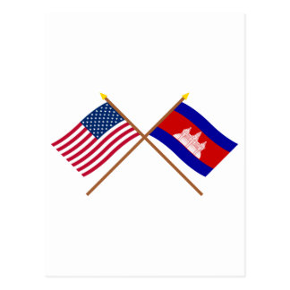 US and Cambodia Crossed Flags Postcard
