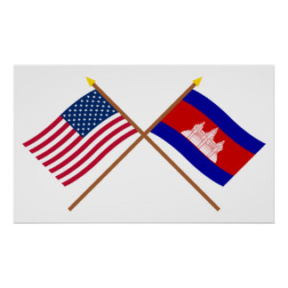 US and Cambodia Crossed Flags Print