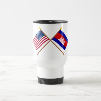 US and Cambodia Crossed Flags Travel Mug