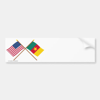 US and Cameroon Crossed Flags Bumper Sticker