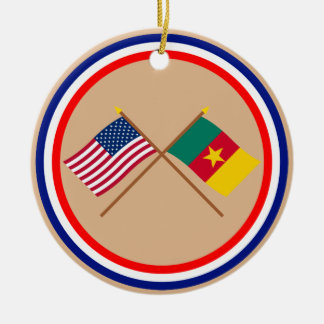 US and Cameroon Crossed Flags Christmas Tree Ornament