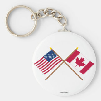 US and Canada Crossed Flags Basic Round Button Keychain