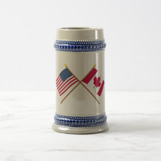 US and Canada Crossed Flags Beer Stein