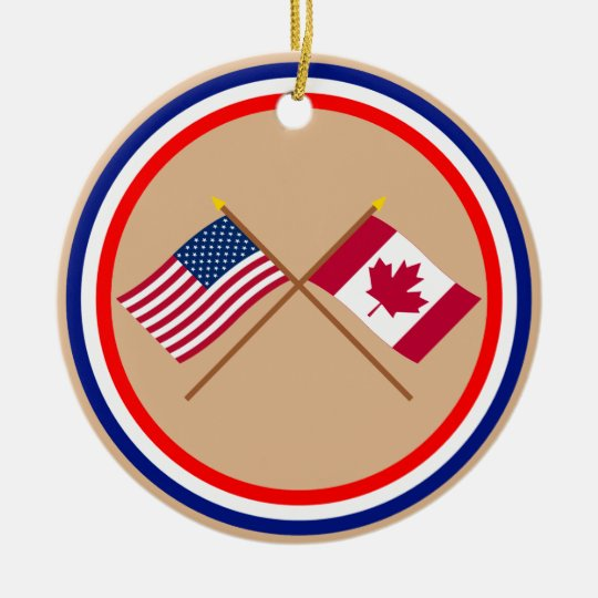 US and Canada Crossed Flags Ceramic Ornament