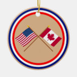 US and Canada Crossed Flags Christmas Ornament