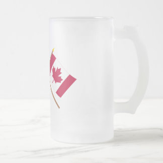 US and Canada Crossed Flags Frosted Glass Beer Mug