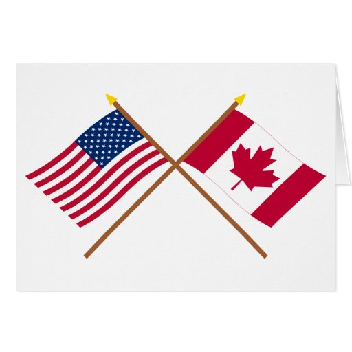 US and Canada Crossed Flags Greeting Card