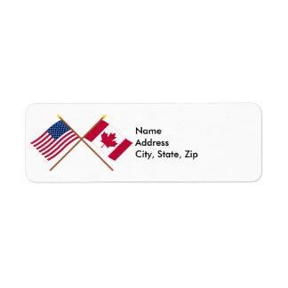 US and Canada Crossed Flags Custom Return Address Labels