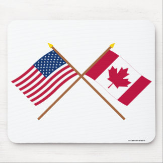 US and Canada Crossed Flags Mouse Pad