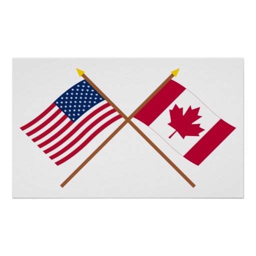 US and Canada Crossed Flags Poster