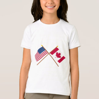 US and Canada Crossed Flags T-Shirt