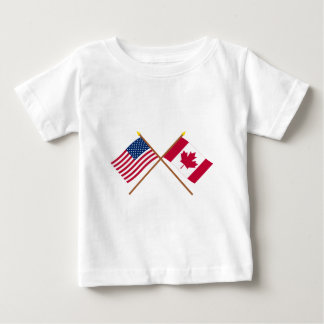 US and Canada Crossed Flags Tee Shirt