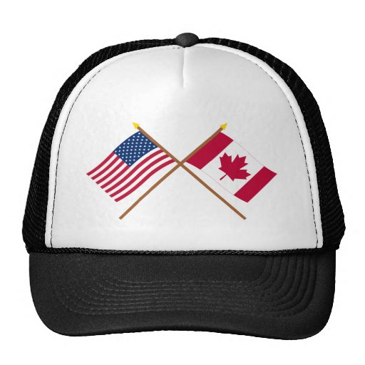 US and Canada Crossed Flags Trucker Hat