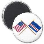 US and Cape Verde Crossed Flags 2 Inch Round Magnet