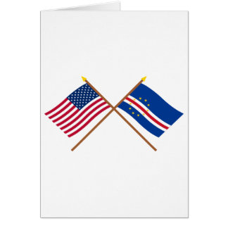 US and Cape Verde Crossed Flags Cards