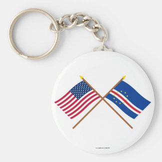 US and Cape Verde Crossed Flags Keychain