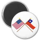 US and Chile Crossed Flags 2 Inch Round Magnet