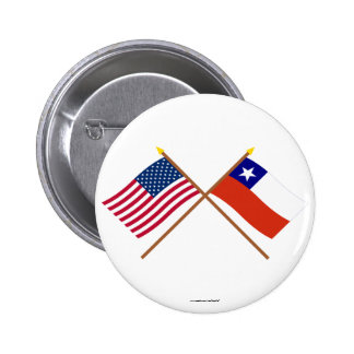 US and Chile Crossed Flags Pinback Buttons