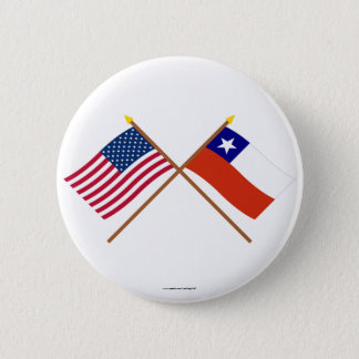 US and Chile Crossed Flags Pinback Button