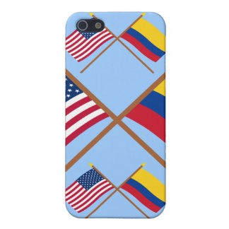 US and Colombia Crossed Flags Case For iPhone 5/5S