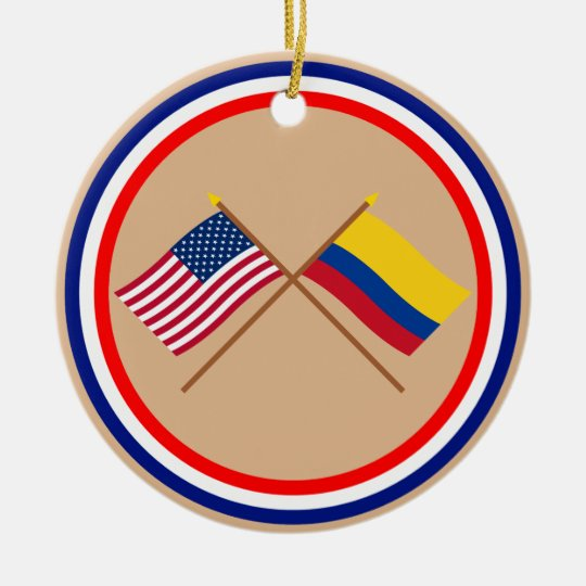 US and Colombia Crossed Flags Ceramic Ornament