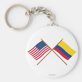 US and Colombia Crossed Flags Keychain