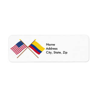 US and Colombia Crossed Flags Label