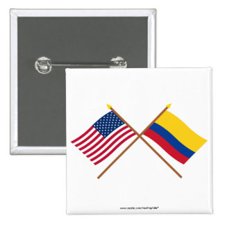 US and Colombia Crossed Flags Pinback Button