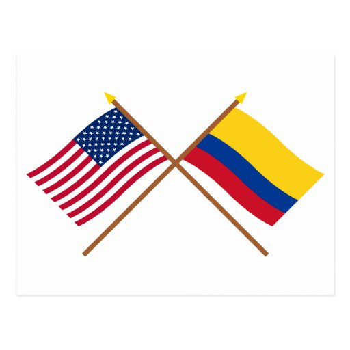 US and Colombia Crossed Flags Post Card
