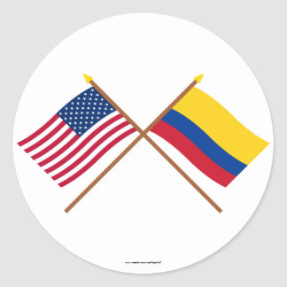 US and Colombia Crossed Flags Stickers