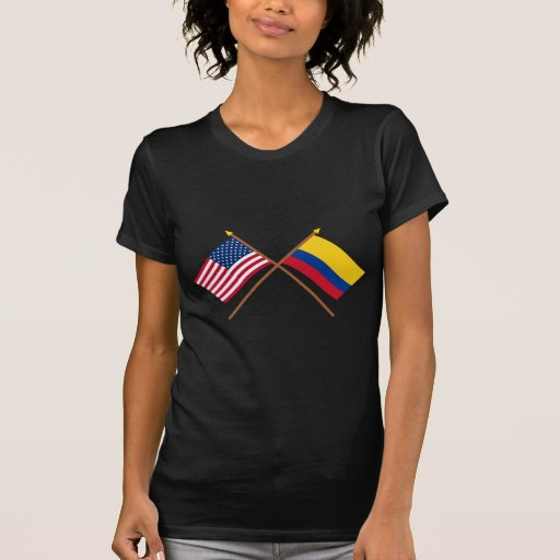 US and Colombia Crossed Flags Tees