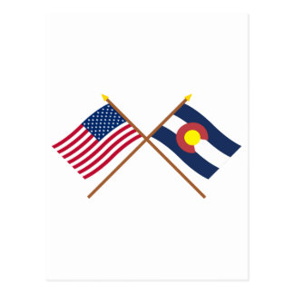 US and Colorado Crossed Flags Postcard