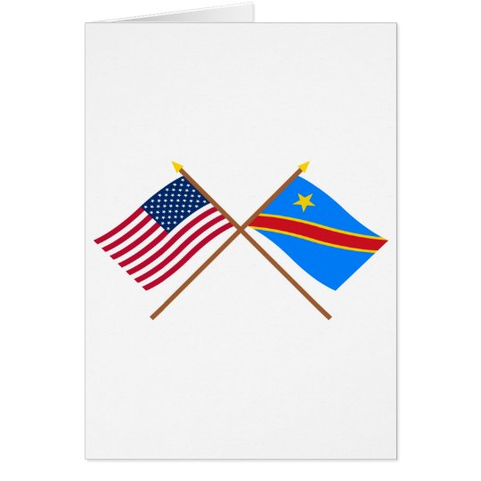 US and Congo Democratic Republic Crossed Flags Card