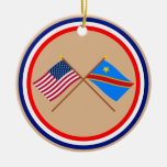 US and Congo Democratic Republic Crossed Flags Christmas Ornament
